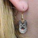 DHEH08B Germ Shepherd Black & silver Earrings Hanging