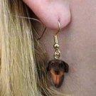 DHEH101B Doberman Red Natural Ears Earring Hanging