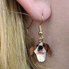DHEH106A Pointer Brown & White Earrings Hanging