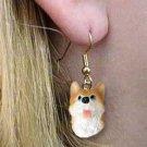 DHEH17C Husky Red & White Blue Eyes Earrings Hanging