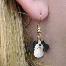 DHEH27A Brittany Liver & White Earrings Hanging