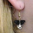 DHEH63B Jack Russell Terrier Rough Coat Black & White Earrings Hanging