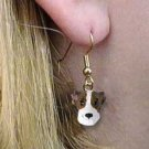 DHEH92B Whippet Brindle & White Earrings Hanging