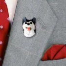 DHP17B Husky Black & White Brown Eyes Pin