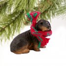 DTX60B Dachshund, Longhaired, Black Christmas Ornament