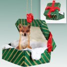 GGBA27A Fox, Red Green Gift Box Ornament