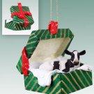GGBA43 Holstein Cow Green Gift Box Ornament