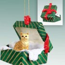 GGBC04 Shorthair Red Tabby Green Gift Box Ornament