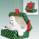 GGBD01A Poodle, White Green Gift Box Ornament