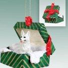 GGBD08C German Shepherd, White Green Gift Box Ornament