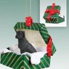 GGBD100A Great Dane, Black, Uncropped Green Gift Box Ornament