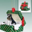 GGBD103B Schnauzer, Gray, Uncropped Green Gift Box Ornament