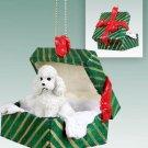 GGBD104A Poodle, White, Sport cut Green Gift Box Ornament