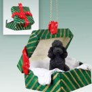GGBD104D Poodle, Black, Sport cut Green Gift Box Ornament
