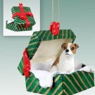 GGBD105A Jack Russell Terrier, Brown & White, Smooth Coat Green Gift Box Ornament