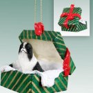 GGBD110A Japanese Chin, Black & White Green Gift Box Ornament