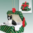 GGBD12 Boston Terrier Green Gift Box Ornament