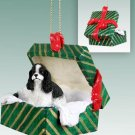 GGBD15E Cocker Spaniel, Black & White Green Gift Box Ornament