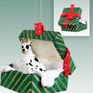GGBD16C Great Dane, Harlequin Green Gift Box Ornament