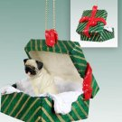 GGBD18A Pug, Fawn Green Gift Box Ornament