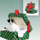 GGBD63B Jack Russell Terrier, Black & White, Rough Coat Green Gift Box Ornament