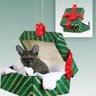 GGBD73 French Bulldog Green Gift Box Ornament
