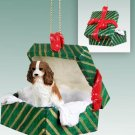 GGBD80A Cavalier King Charles, Brown & White Green Gift Box Ornament