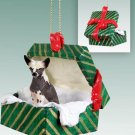 GGBD81 Chinese Crested Dog Green Gift Box Ornament