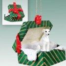 GGBD92A Whippet, White Green Gift Box Ornament