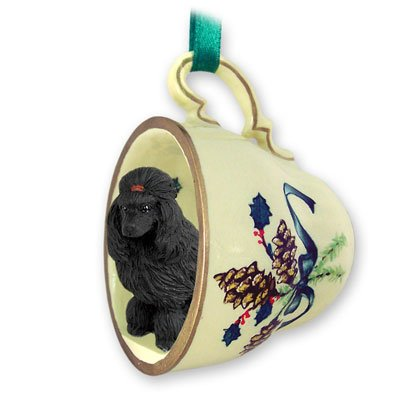 Gtcd01d poodle black green holiday tea cup ornament