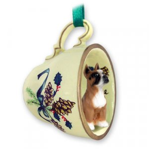 GTCD33A Boxer Green Holiday Tea Cup Ornament
