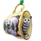 HTCC16 Main Coon Silver Tabby Snowman Holiday Tea Cup Ornament
