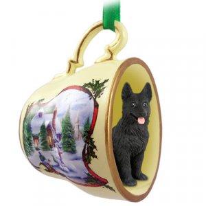 HTCD08D German Shepherd, Black Snowman Holiday Tea Cup Ornament