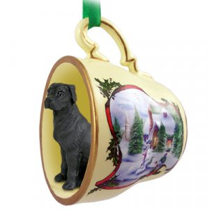 HTCD100A Great Dane, Black, Uncropped Snowman Holiday Tea Cup Ornament