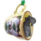 HTCD114 Kerry Blue Terrier Snowman Holiday Tea Cup Ornament
