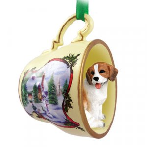 HTCD14 Beagle Snowman Holiday Tea Cup Ornament
