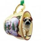 HTCD40C Shar Pei, Cream Snowman Holiday Tea Cup Ornament