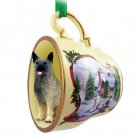 HTCD52 Norwegian Elkhound Snowman Holiday Tea Cup Ornament