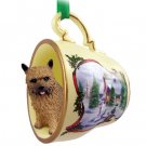 HTCD79 Norwich Terrier Snowman Holiday Tea Cup Ornament