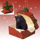 RGBA02 Black Bear  Red Gift Box Ornament