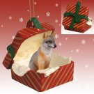 RGBA27B Fox, Gray Red Gift Box Ornament