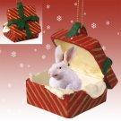 RGBA51 Rabbit, White Red Gift Box Ornament