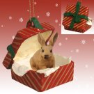 RGBA53 Rabbit, Brown Red Gift Box Ornament
