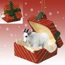 RGBA63 Mountain Goat Red Gift Box Ornament