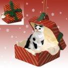RGBC02 Shorthair Black & White Tabby Red Gift Box Ornament