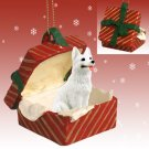 RGBD08C German Shepherd, White Red Gift Box Ornament