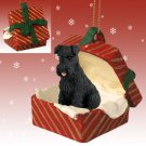 RGBD103A Schnauzer, Black, Uncropped Red Gift Box Ornament