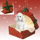 RGBD104A Poodle, White, Sport cut Red Gift Box Ornament