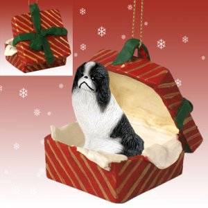RGBD110A Japanese Chin, Black & White Red Gift Box Ornament