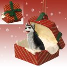 RGBD17B Husky, Black & White, Brown Eyes Red Gift Box Ornament